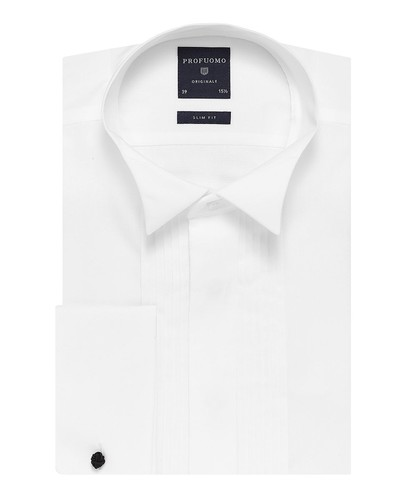 Profuomo Smoking Chemise - Classique - Blanc - Slim Fit - Twill - Double Cuff (1)