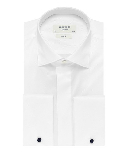 Profuomo Smoking Chemise - Blanc - Slim Fit - Twill - Double Cuff (1)